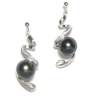 9mm Tahitian Black Pearl 2.3g 14K White Gold Diamond Post Earrings