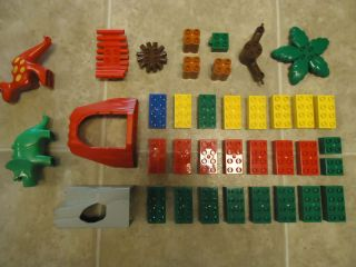 BIG LEGO DUPLO LOT BLOCKS DINOSAURS CAVE MOUNTAIN PALM TREE FIRE PIT