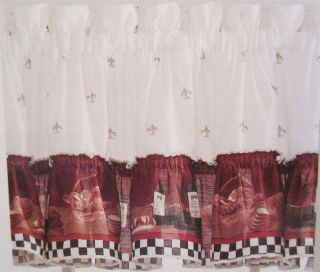 Savory Fat Chef Kitchen Ruffled Curtain Valance Black White Check