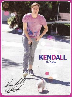 Big Time Rushs Kendall Schmidt & Pet Pig Yuma 8x10 Pin Up b/w One