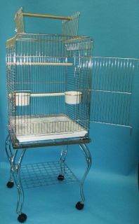 Parrot Bird Cage Top Play w Stand Wheel 20x20x57 0121