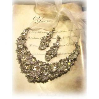 Gorgeous OOAK Bridal statement swarovski rhinestone necklace fashion