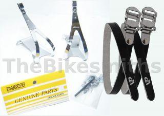 Toe Clips Black Straps Fixed Gear Track Road Bike Pedal Clip