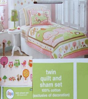 Love and Nature Owls Birds Twin Quilt Sheets Sham Stickers 6pc Bedding