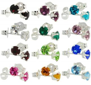 Birthstone Swarovski Crystal Sterling Silver Earrings
