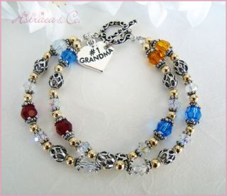 Gold Grandma Family Birthstones Birthday Bracelet Gift