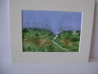 Original Watercolor Painting Path to Ocean at Folly Beach Matted Sea
