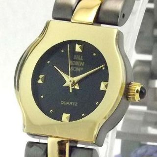 BILL ROBINSON Womens Gold Tone & Gun Metal Finish Bracelet Watch BR