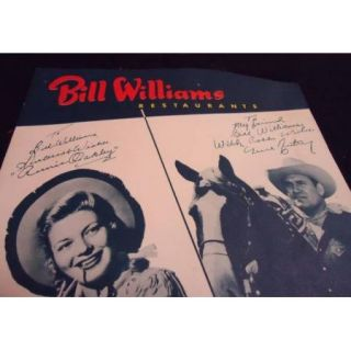 1955 Menu Bill Williams Restaurant Houston Texas Gene Autry & Annie