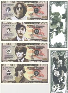 Beatles Collectible Money Set One Bill per Beatle