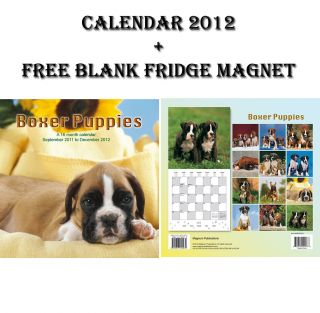 BOXER PUPPIES DOGS 16 MONTH CALENDAR 2012 + FREE FRIDGE MAGNET