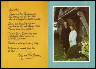 Billy Graham Vintage Original Christmas Card Xmas to Douglas Fairbanks