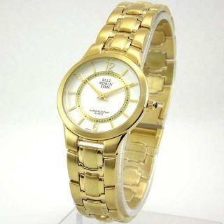 Bill Robinson Womens Round Gold Tone Bracelet Watch New