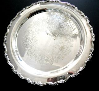 WILLIAM A. ROGERS SILVERPLATED 15 ROUND SILVER SERVING TRAY PLATTER
