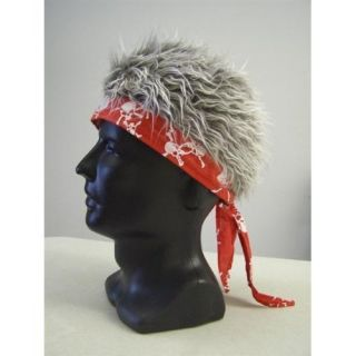 Billy Bob Red Bandana with Gray Flair Hair visor hat biker costume