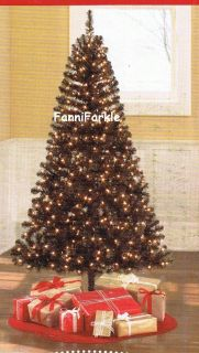 FT BLACK CHRISTMAS PINE TREE w/ 400 WHITE LIGHTS ~ 78 TALL ~ NEW