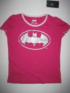 New Batman Toddler Girl Pink Cotton Short Sleeve T Shirt 4T