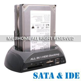 IDE SATA HDD Hard Drive Disk Dock Docking Station USB Hub Black