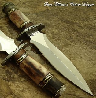 Steve Williams RARE 1 of A Kind Custom Art Dagger Knife Damascus