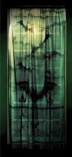 Black Gothic Halloween Window Sheer Lace Panel Curtain Bat Tombstone