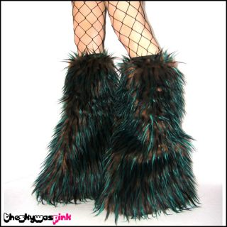 Monster Fur Fluffies Cyber Goth Rave Furry Leg Warmers