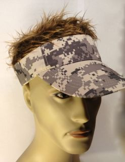 New Billy Bob Brown Hair w Gray Camouflage Visor Hat Halloween costume