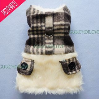 Dog Clothes Xsmall For Dog Dress Furred Dog Coat Black Dog Jacket