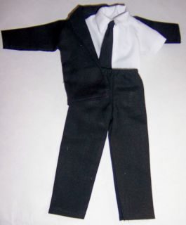 Black Jacket,Tie & Pants with White Shirt Will fit Ken Dolls