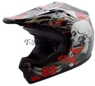 Youth Black Rose Skull Dirt Bike Motocross Helmet MX S