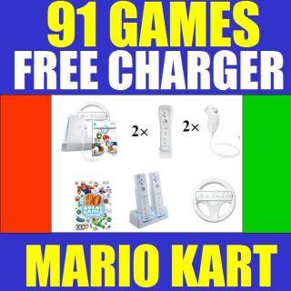 Nintendo Black Wii Console System w Mario Kart 2 Player