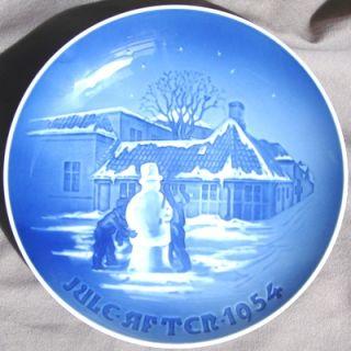 Bing Grondahl 1954 B G Christmas Plate Snowman Odense