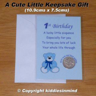 Sixpence 1st Birthday Son Grandson Nephew Keepsake Card Gift Boy Blue