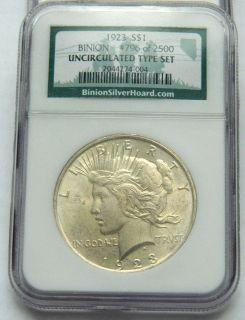 Binion Collecion Se 1923 Peace Dollar 1964 Kennedy Half 1964 Quarer