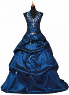 Blue Womens Formal Prom Ball Gown Evening Dress SIZE24