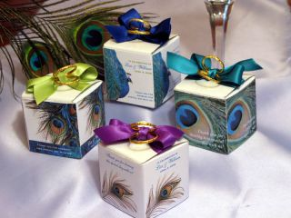 Peacock Wedding Favors Boxes Bird Feather Bridal Shower