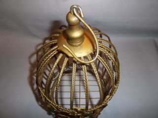 Decorative Gold Tone Metal Christmas Birdcage Bird Cage Red & Green