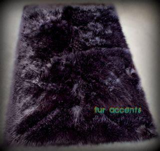 BLACK BEAR RUG 2X5 RUNNER PLUSH FAUX FUR SHEEP SKIN LODGE CABIN ACCENT