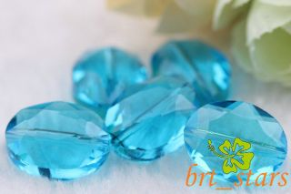 20 Pcs Beautiful Blue Lake Oval Faceted Crystal Glass Beads Charms 16