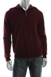 Club Room New Red Merino Wool Ribbed 1 4 Zip Mock Turtleneck Sweater L