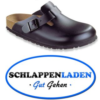 Birkenstock Boston Clogs Black Leather Sandals Regular New All Sizes