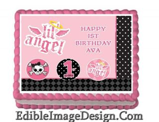 Lil Angel 1st Birthday Edible Party Cake Image Cupcake Topper Favor