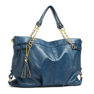 Navy Blue Gold Chain Tassel Handles Tote Shoppers Shoulder Bags