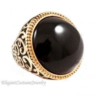 Black Gold Stretch to Fit 1 1 4 Long Ring Elegant Costume Jewelry