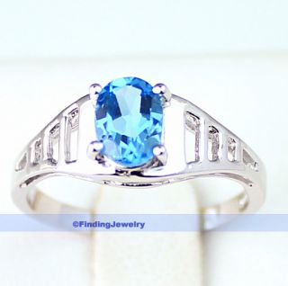 Genuine 1ct Swiss Blue Topaz Silver Ring Size 7 1 2 AAA Service