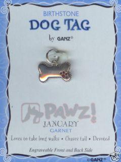 January Birthstone Dog Tag Garnet Pet Jewelry Charm