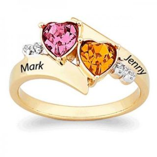 PERSONALIZED GOLD OVER STERLING SILVER HEART NAME BIRTHSTONE RING
