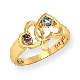Gold Sterling Silver Couples Gemstone Birthstone Heart Ring