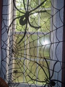 Gothic Black Lace Sheer Curtain Halloween Window Web Spider 85 x 39