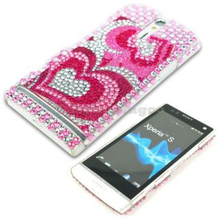 Crystal Bling Case Cover Sony Xperia s NX LT26i Pink Heart