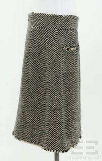Chanel Black White Wool Herringbone A Line Skirt Size 44